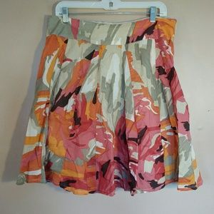 Christopher & Banks 10P Orange Tan Floral Skirt
